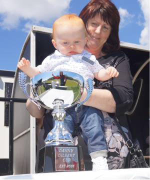 Christine with baby Danny  with the Danny Gilbert Memorial Challenge Cup